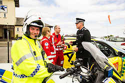 Pictured: <br /> The Scottish Police Benevolent Fund has donated £30,000 to help fund Scotland's Charity Air Ambulance (SCAA). Police Scotland Chief Constable Phil Gormley and Scottish Police Benevolent Fund secretary David Hamilton visited SCAA in Perth to thank them for their work. <br /> <br /> Ger Harley | EEm 16 May April 2016