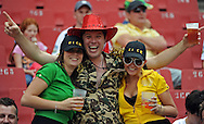 JOHANNESBURG, South Africa, 02 April 2011. Lucky Nick with his two girl friends during the Super15 Rugby match between the Lions and the Reds at Coca-Cola Park in Johannesburg, South Africa on 02 April 2011. .Photographer : Anton de Villiers / SPORTZPICS
