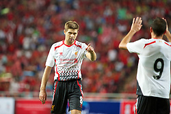 BANGKOK, THAILAND - Sunday, July 28, 2013: Liverpool's captain Steven Gerrard celebrates scoring the third goal against Thailand XI during a preseason friendly match at the Rajamangala National Stadium. (Pic by David Rawcliffe/Propaganda)