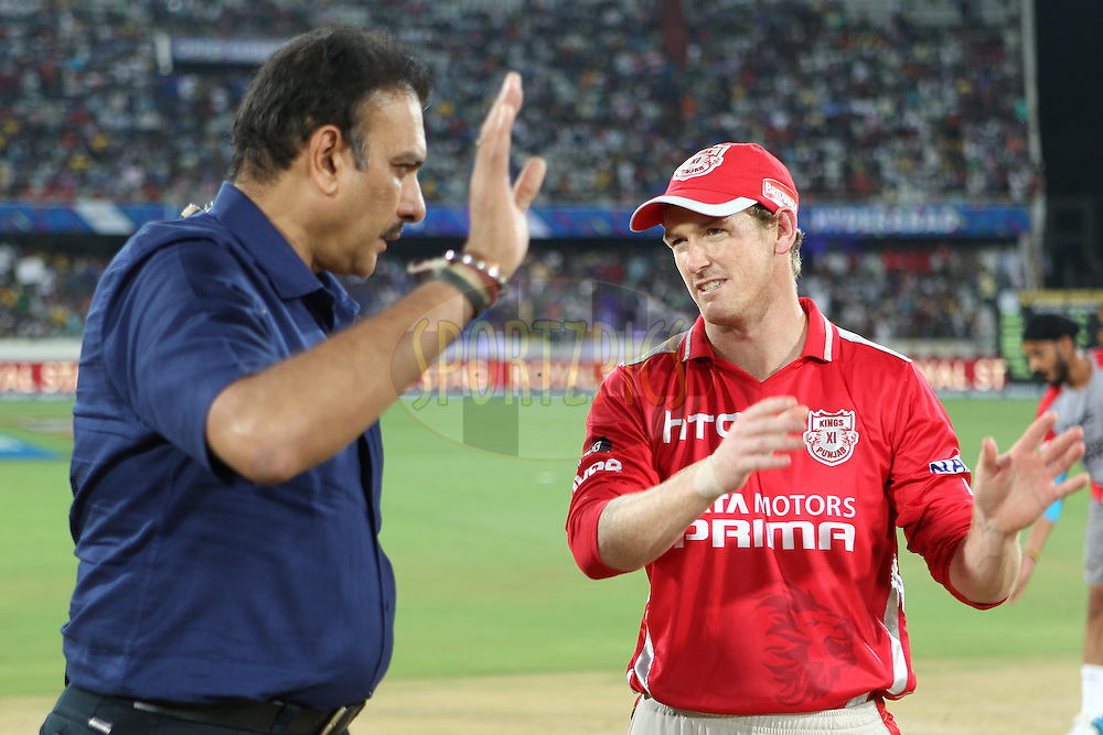 George BAILEY (Captain) of the Kings XI Punjab  interviewed by Ravi Shastri before the toss during the second semi final match of the Oppo Champions League Twenty20 between the Kings XI Punjab and the Chennai Superkings held at the Rajiv Gandhi Cricket Stadium, Hyderabad, India on the 2nd October 2014<br /> <br /> Photo by:  Ron Gaunt / Sportzpics/ CLT20<br /> <br /> <br /> Image use is subject to the terms and conditions as laid out by the BCCI/ CLT20.  The terms and conditions can be downloaded here:<br /> <br /> http://sportzpics.photoshelter.com/gallery/CLT20-Image-Terms-and-Conditions-2014/G0000IfNJn535VPU/C0000QhhKadWcjYs