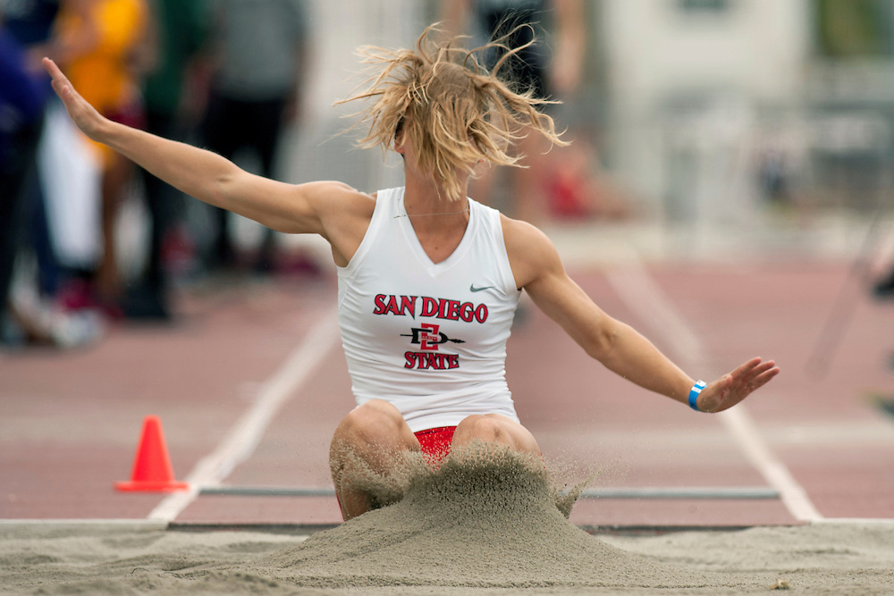San Diego, CA - March 16th, 2012 - Sarah Haydock from San Diego State University takes part in the long jump in the Aztec Invitational Track and Field event held at San Diego State University. She placed 22nd in the finals with a length of 4.82m. Photo by Wally Nell