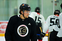 PENTICTON, CANADA - SEPTEMBER 8: Rasmus Andersson #54 of the Calgary Flames stands on the during morning practice on September 8, 2017 at the South Okanagan Event Centre in Penticton, British Columbia, Canada.  (Photo by Marissa Baecker/Shoot the Breeze)  *** Local Caption ***