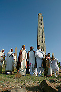 AXUM, TIGRAY/ETHIOPIA..Wedding party at the Steles (obelisques) marking Kings' graves at the former Capital..(Photo by Heimo Aga)