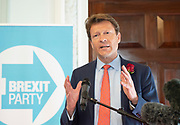 Brexit Party launch event<br /> Nigel Farage and Richard Tice, party chairman launch the next tranche of Brexit Party candidates at an event in London, Great Britain <br /> House Terrace<br /> 23rd April 2019<br /> <br /> Richard Tice <br /> <br /> New candidates standing for the Brexit Party in the European Parliament Elections in May 2019 <br /> <br /> Lance Forman <br /> Businessman and owner of H.Forman and Son <br /> <br /> Christina Jordan<br /> Former nurse and community leader <br /> <br /> Matthew Patten <br /> Charity Leader and CEO <br /> <br /> James Glancy <br /> Veteran and broadcaster <br /> <br /> Claire Fox<br /> Writer, free speech campaigner <br /> <br /> Photograph by Elliott Franks