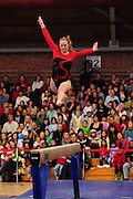 January 24, 2010; Stanford, CA, USA; Stanford Cardinal gymnast Alyssa Brown performs on the beam during the meet against the UCLA Bruins at Burnham Pavilion. The Cardinal defeated the Bruins 196.43-195.83. Mandatory Credit: Kyle Terada-Terada Photo