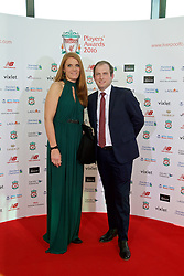 LIVERPOOL, ENGLAND - Thursday, May 12, 2016: Nivea sponsors xxxx and xxxx arrive on the red carpet for the Liverpool FC Players' Awards Dinner 2016 at the Liverpool Arena. (Pic by David Rawcliffe/Propaganda)