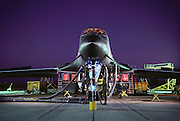 B-1 bomber undergoing tests at Edwards AFB, Southern California. The Boeing (formerly Rockwell) B-1B Lancer is a long-range strategic bomber in service with the United States Air Force (USAF). Together with the B-52 Strato-fortress and the B-2 Spirit, it is the backbone of the United States' long-range bomber force.