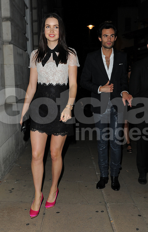 Made In Chelsea stars Emma Miller and Mark-Francis Vandelli leaving the LFW AnOther Magazine party at Loulou's private members club in Mayfair, London, UK. 15/09/2014<br />BYLINE MUST READ : GOTCHAIMAGES.COM<br /><br />Copyright by &copy; Gotcha Images Ltd. All rights reserved.<br />Usage of this image is conditional upon the acceptance <br />of Gotcha Images Ltd, terms and conditions available at<br />www.gotchaimages.com