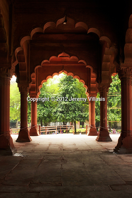 Columns and engrailed arches of the Diwan-i-Aam audience hall in the Red Fort, Old Delhi