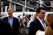 Delegates arrive at Tampa Bay Times Forum, the site of the 2012 Republican National Convention on August 30, 2012 in Tampa, Fla.