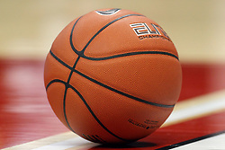 29 November 2014:  A basketball awaits action during an NCAA men's basketball game between the Youngstown State Penguins and the Illinois State Redbirds  in Redbird Arena, Normal IL.