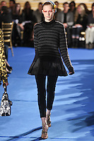 Julia Nobis walks the runway wearing Thakoon Fall 2011 Collection during Mercedes-Benz Fashion Week in New York on February 13, 2011