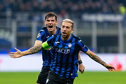 November 26, 2019, Milano, Italy: alejandro dario gomez (atalanta) and marten de roon (atalanta) festeggiano the golduring Tournament round - Atalanta vs Dinamo Zagreb , Soccer Champions League Men Championship in Milano, Italy, November 26 2019 - LPS/Francesco Scaccianoce (Credit Image: © Francesco Scaccianoce/LPS via ZUMA Wire)