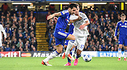 Cesc Fabregas takes on Serhiy Rybalka during the Champions League group stage match between Chelsea and Dynamo Kiev at Stamford Bridge, London, England on 4 November 2015. Photo by Michael Hulf.