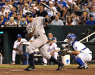 July 26, 2007 - Kansas City, MO..New York Yankees third basemen Alex Rodriguez hits the ball to left field in the eighth inning against the Kansas City Royals at Kauffman Stadium in Kansas City, Missouri on July 26, 2007...MLB:  The Royals defeated the Yankees 7-0.  .Photo by Peter G. Aiken/Cal Sport Media