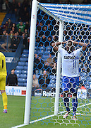 Bury Defender Nathan Cameron sees a chance go begging during the Sky Bet League 1 match between Bury and Rochdale at Gigg Lane, Bury, England on 17 October 2015. Photo by Mark Pollitt.