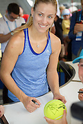 January 08, 2017: Number 1 ranked womens tennis player and 2016 US Open Champion Angelique Kerber (GER) signs autographs for fans during the first day of the Apia International Sydney played at the Sydney Olympic Park Tennis Centre. (Photo by Icon Sportswire)