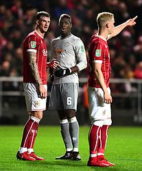 Aden Flint of Bristol City with Paul Pogba of Manchester United  - Mandatory by-line: Joe Meredith/JMP - 20/12/2017 - FOOTBALL - Ashton Gate Stadium - Bristol, England - Bristol City v Manchester United - Carabao Cup Quarter Final