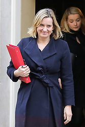 © Licensed to London News Pictures. 08/01/2019. London, UK. Amber Rudd - Secretary of State for Work and Pensions departs from No 10 Downing Street after attending the weekly Cabinet Meeting. Photo credit: Dinendra Haria/LNP