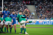 Conor Murray (IRL) kicked the ball, Guilhem Guirado (FRA) tryed to stop during the NatWest 6 Nations 2018 rugby union match between France and Ireland on February 3, 2018 at Stade de France in Saint-Denis, France - Photo Stephane Allaman / ProSportsImages / DPPI