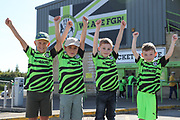 Young Forest Green Rovers fans with their free shirts during the EFL Sky Bet League 2 match between Forest Green Rovers and Colchester United at the New Lawn, Forest Green, United Kingdom on 14 September 2019.