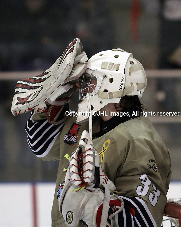 KINGSTON,ON-Mar 20 :<br />  Ontario Junior Hockey League, OJHL North East Conference playoff series round two, Kingston Voyageurs vs Trenton Golden Hawks. Denny Dubblestyne #33 of the Trenton Golden Hawks Hockey Club. (Photo by Robert John Boucher / OJHL Images)