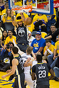 Golden State Warriors center JaVale McGee (1) dunks the ball against the San Antonio Spurs during Game 2 of the Western Conference Quarterfinals at Oracle Arena in Oakland, Calif., on April 16, 2018. (Stan Olszewski/Special to S.F. Examiner)