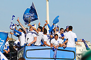 Brighton & Hove Albion winger Anthony Knockaert and team mates on the open top bus during the Brighton & Hove Albion Football Club Promotion Parade at Brighton Seafront, Brighton, East Sussex. United Kingdom on 14 May 2017. Photo by Ellie Hoad.