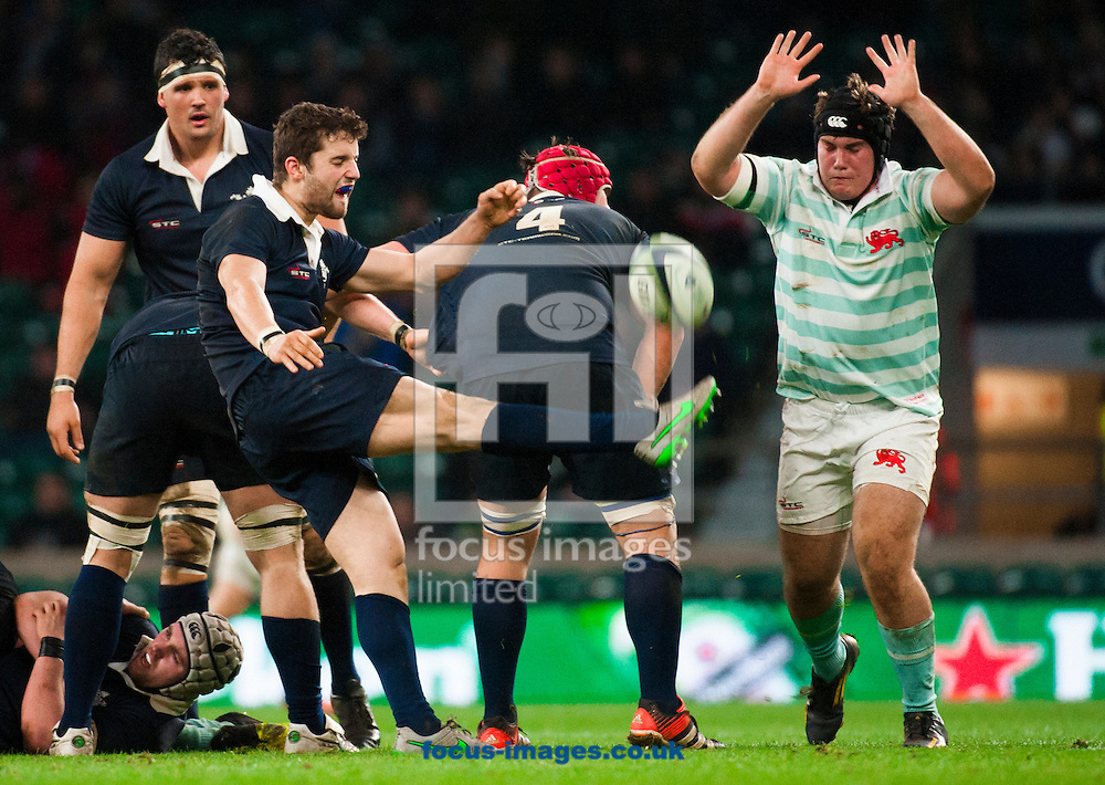 Henry De Berker of Oxford University clears the ball during the The Mens Varsity Match match at Twickenham Stadium, Twickenham<br /> Picture by Jack Megaw/Focus Images Ltd +44 7481 764811<br /> 10/12/2015