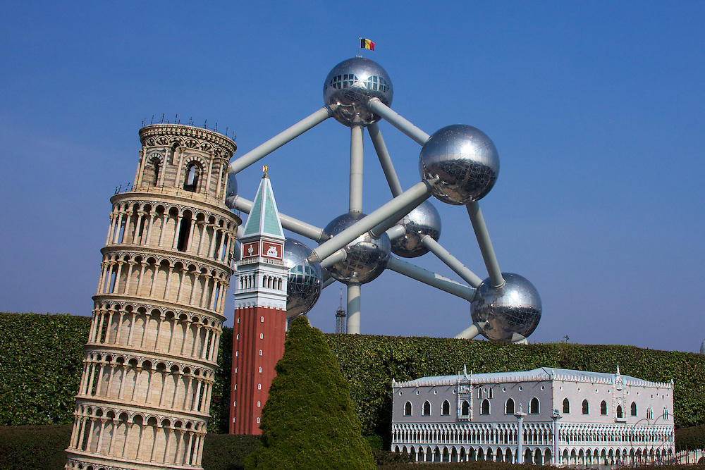 Inside Mini-Europe in Brussels, where one can view scale size models of the most famous european building icons - here the best of Pisa and Vicenza compete against the actual Atomium, with a mini-Eiffel tower making an apperance just over the shrubbery