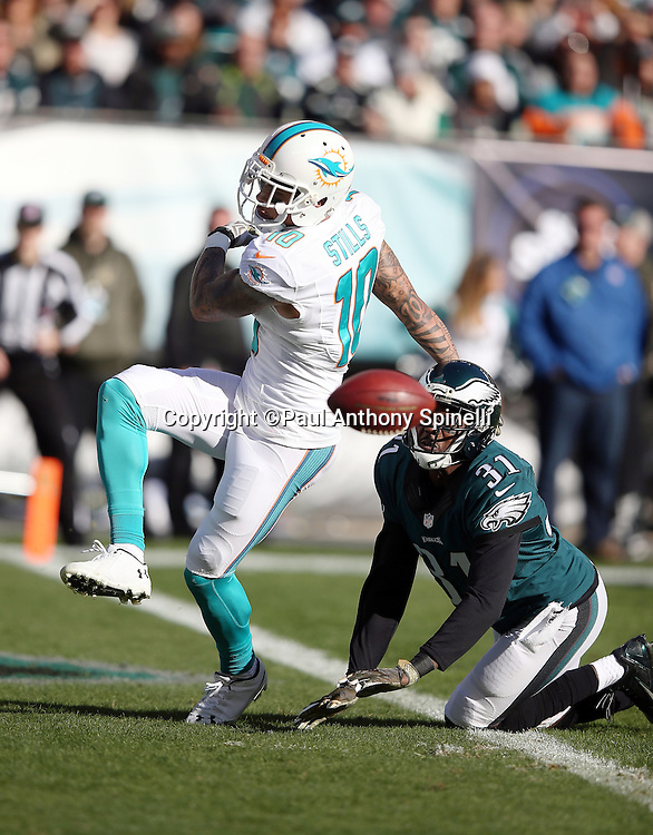 Philadelphia Eagles cornerback Byron Maxwell (31) breaks up a second quarter end zone pass intended for Miami Dolphins wide receiver Kenny Stills (10) during the 2015 week 10 regular season NFL football game against the Miami Dolphins on Sunday, Nov. 15, 2015 in Philadelphia. The Dolphins won the game 20-19. (©Paul Anthony Spinelli)