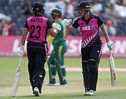 Sophie Devine and Suzie Bates celebrate each others half-centuries during the international T20 between South Africa Women and the White Ferns at the Brightside Ground, Bristol. Photo: Graham Morris/www.photosport.nz 28/06/18 NZ USE ONLY