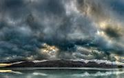 Cloudscape panorama at dusk over Ben Ohau Range, Lake Pukaki, Mackenzie country, Canterbury, New Zealand