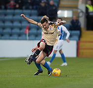 18th November 2017, Dens Park, Dundee, Scotland; Scottish Premier League football, Dundee versus Kilmarnock; Dundee's Cammy Kerr flies after being tackled by Kilmarnock's Alan Power