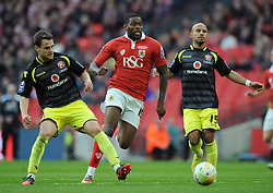 Bristol City's Jay Emmanuel-Thomas closes down the ball - Photo mandatory by-line: Dougie Allward/JMP - Mobile: 07966 386802 - 22/03/2015 - SPORT - Football - London - Wembley Stadium - Bristol City v Walsall - Johnstone Paint Trophy Final