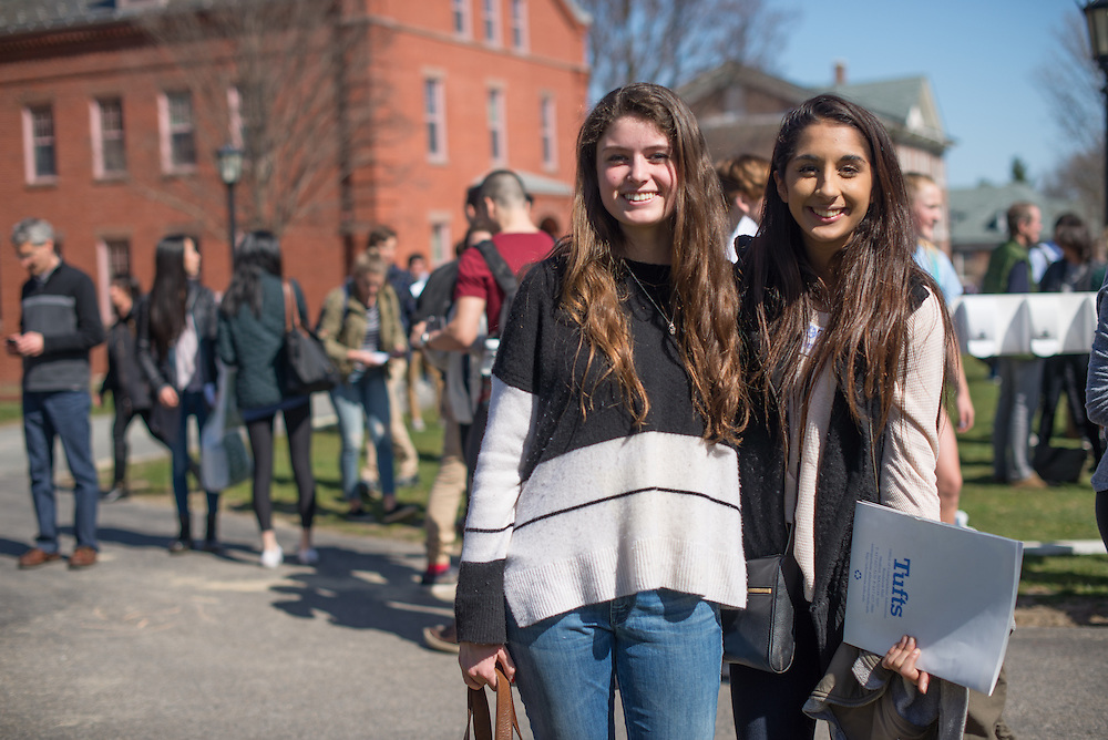 4/15/16 &ndash; Medford/Somerville, MA &ndash; Eliza McKown  from Milton, MA and Amrita Mecker from Los Altos, CA met on Facebook and reconnected during Jumbo Days on April 15, 2016. (Sofie Hecht / The Tufts Daily)<br /> <br /> &quot;Yeah I really liked the size and I think I want to be part of a sports team and Tufts has low key sports and I could balance both sports and academics.&quot; - Amrita<br /> <br /> &quot;We had a free 2 hours and I just sat on the library roof. It was so fun. I just kind of tanned and I really enjoyed it.&quot; - Amrita<br /> <br /> &quot;The one thing I've heard every student talk about is the people and how great they are. A lot of activists, people who do what they want to do nothing will stop them from going&quot; - Amrita<br /> <br /> &quot;I just really liked the really liberal attitude of this school. It seemed really accepting and really open. In general, really diverse types of people here.&quot; -Eliza<br /> <br /> &quot;My sister goes here, she loves its and it seemed like a really good fit for me.&quot; - Eliza