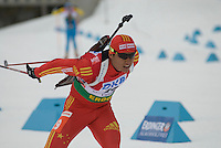 Chenge Zhang (CHN) competes in the World Cup Biathlon men's Sprint Competition on March 13, 2009