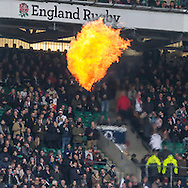 Flames display as the teams come out, England v Argentina in an Old Mutual Wealth Series, Autumn International match at Twickenham Stadium, London, England, on 26th November 2016. Full Time score 27-14