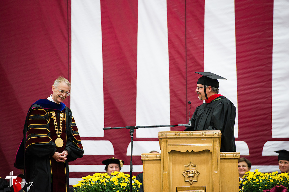 The Rev. Dan Gilbert, president of the LCMS Northern Illinois District, introduces the Rev. Dr. Daniel Lee Gard, president of Concordia University Chicago, during Gard's inauguration of at the college in River Forest, Ill., on Friday, Oct. 10, 2014. LCMS Communications/Erik M. Lunsford