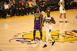 February 27, 2019 - Los Angeles, CA, U.S. - LOS ANGELES, CA - FEBRUARY 27: Los Angeles Lakers Forward LeBron James (23) and New Orleans Pelicans Center Julius Randle (30) during the first half of the New Orleans Pelicans versus Los Angeles Lakers game on February 27, 2019, at Staples Center in Los Angeles, CA. (Photo by Icon Sportswire) (Credit Image: © Icon Sportswire/Icon SMI via ZUMA Press)