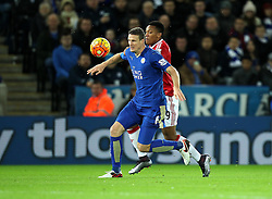 Robert Huth of Leicester City and Anthony Martial of Manchester United battle for the ball - Mandatory byline: Robbie Stephenson/JMP - 28/11/2015 - Football - King Power Stadium - Leicester, England - Leicester City v Manchester United - Barclays Premier League