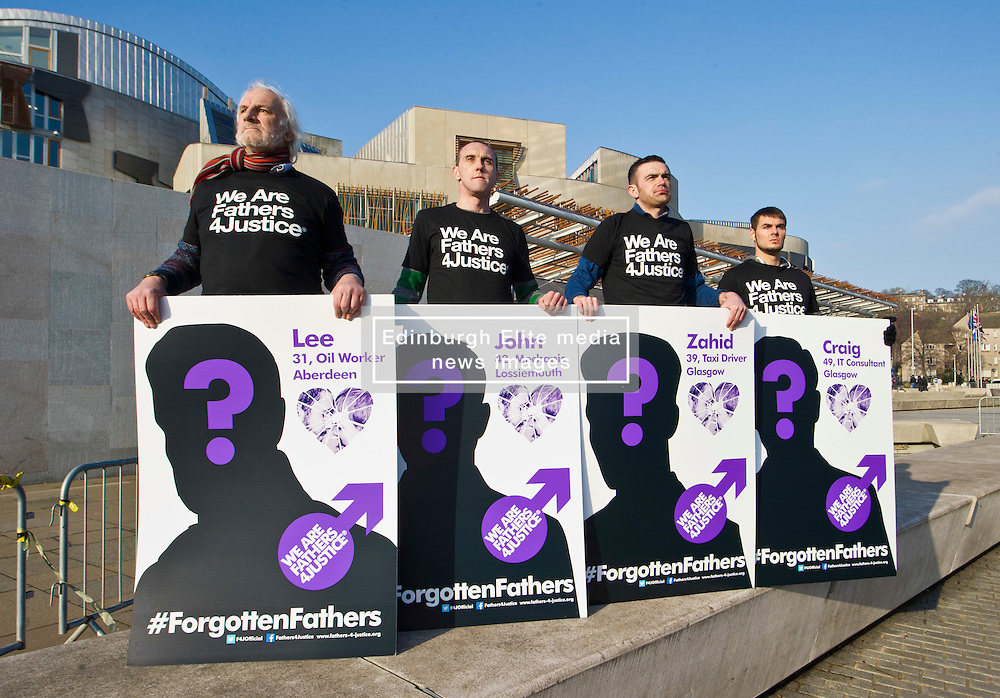 Pictured: l-r David Albury, Mark Laughran, Steven Mills, Nick Wolanski<br /> Members of Father's For Justice gathered outside the Scottish Parliament todayto highlight increased suicide risk. A new campaign, Forgotten Fathers, has been set up to encourage fathers to talk more about their love for their children after research found 23% of Scots believe that mothers love their children more than fathers.<br /> <br /> <br /> <br /> Ger Harley | EEm 14 February 2017