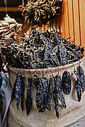 Dried pasilla peppers at Benito Juarez market in Oaxaca, Mexico.