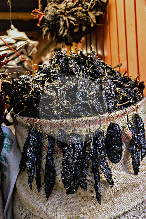 Dried pasilla peppers at Benito Juarez market in Oaxaca, Mexico.