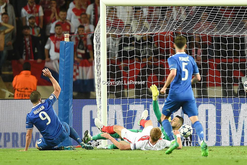 Photo LaPresse - Valerio Andreani<br /> 03 May 2017 City Monaco<br /> Sport Soccer<br /> Monaco-Juventus<br /> Semi-finals Champions League 2016/2017 - &quot;Louis II&quot; Stadium<br /> in the pic: higuain gonzalo realizza il gol del 0-2