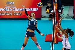 14-10-2018 JPN: World Championship Volleyball Women day 15, Nagoya<br /> China - United States of America 3-2 / Xinyue Yuan #1 of China, Foluke Akinradewo #16 of USA