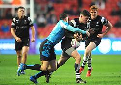 Luke Daniels of Bristol Bears takes on Dmitrii Gerasimov of Enisei-STM- Mandatory by-line: Nizaam Jones/JMP - 19/01/2019 - RUGBY - Ashton Gate Stadium - Bristol, England - Bristol Bears v Enisei-STM - European Rugby Challenge Cup