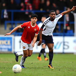 TELFORD COPYRIGHT MIKE SHERIDAN 9/3/2019 - Zehn Mohammed and Andre Brown of AFC Telford during the National League North fixture between AFC Telford United and FC United of Manchester (FCUM) at the New Bucks Head Stadium