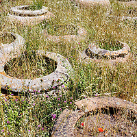 Remains of ancient olive jars in Ostia Antica, Italy.