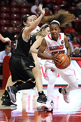 04 November 2015: Shakeela Fowler(22) challenges Jenny Rocha(1) for position in the paint. Illinois State University Women's Basketball team hosted The Lions from Lindenwood for an exhibition game at Redbird Arena in Normal Illinois.